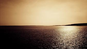 Landscapes monochrome sea sepia wallpaper
