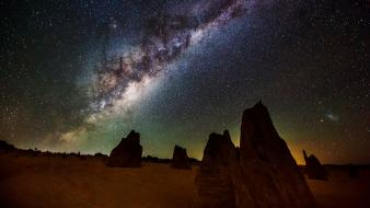 Milky way landscapes night stars wallpaper