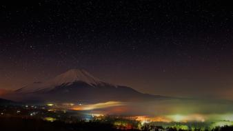 Mt. fuji cities clouds landscapes mountains wallpaper