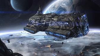 Outer space planets sci-fi spaceships wallpaper