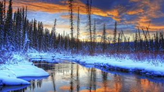 Rivers snow sunset trees winter wallpaper