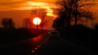 Roads sunset wallpaper