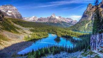 Rocky mountains clouds forests go lakes wallpaper