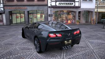 Turismo 5 back black chevrolet corvette c7 wallpaper
