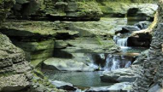 York state watkins glen park cliffs lagoon wallpaper