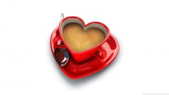 Abstract coffee cups hearts love Wallpaper