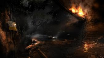 Alone in the dark apocalyptic artwork fire night Wallpaper