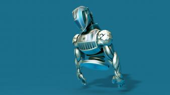 Armor artwork blue background digital art robots Wallpaper