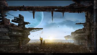 Artistic cityscapes futuristic planets science fiction wallpaper