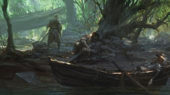 Artwork boats forests knights swords wallpaper