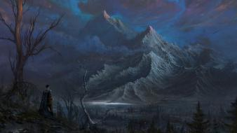Artwork fantasy art men mountains nature wallpaper