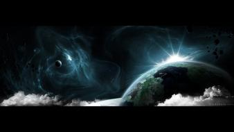 Asteroids nebulae outer space planets surreal wallpaper