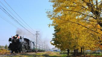 Autumn locomotives trains wallpaper