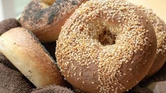 Bagel bread cake eat seeds wallpaper
