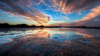 Blue clouds lakes reflections sky wallpaper