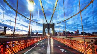 Brooklyn bridge new york city buildings lights clouds wallpaper