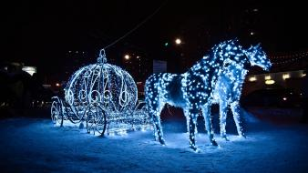 Carriage christmas lights glowing horses winter wallpaper