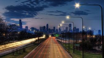 Chicago usa cityscapes light night Wallpaper
