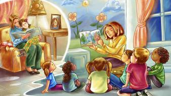 Children reading teachers wallpaper