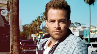 Chris pine esquire magazine actors men palm trees wallpaper