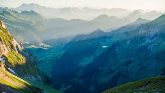Europe switzerland fog hills landscapes wallpaper