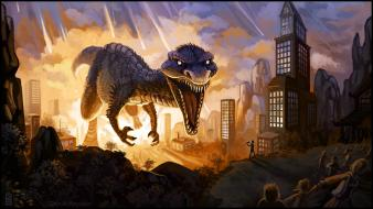 Fantastic digital art dinosaurs drawings fantasy Wallpaper