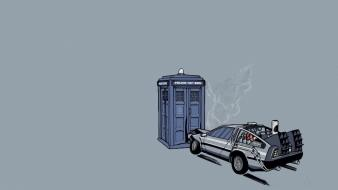 Future delorean dmc12 doctor who tardis threadless Wallpaper