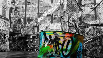 Graffiti selective coloring street art wallpaper