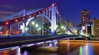 Hdr photography bridges evening lights time lapse wallpaper