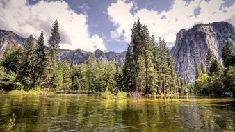 Heritage site yosemite national park cliffs clouds wallpaper