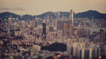 Hong kong depth of field minimalistic wallpaper