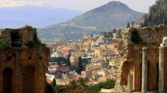 Italia italy taormina cities panorama wallpaper