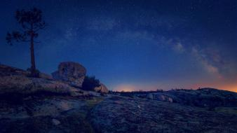 Milky way evening galaxies landscapes nature wallpaper