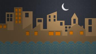 Moon cartoons cities creative design wallpaper