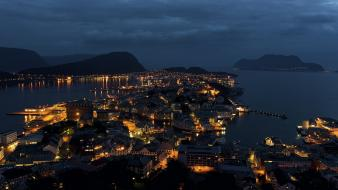 Nocturnal norway blue buildings city lights wallpaper