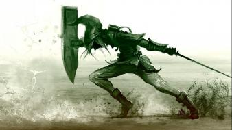 Of zelda green shields swords video games wallpaper