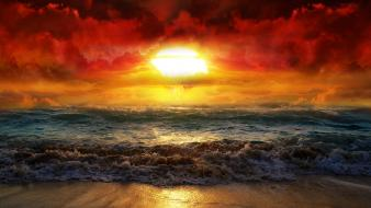 Red clouds sea sunrise sunset Wallpaper