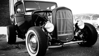 Rod black and white classic cars engine Wallpaper