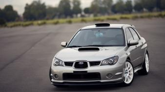 Subaru impreza wrx sti cars gray white Wallpaper