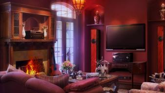 Tv couch fireplaces guitars houses wallpaper