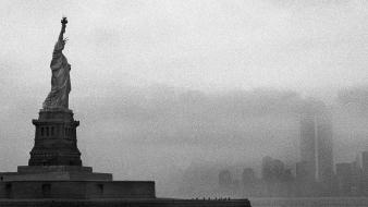 York city statue of liberty cityscapes fog wallpaper