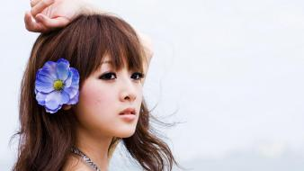 Zhang kaijie bangs brunettes flower in hair wallpaper