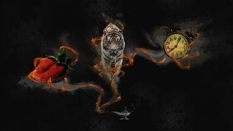 Animals clocks digital art feline lamps wallpaper