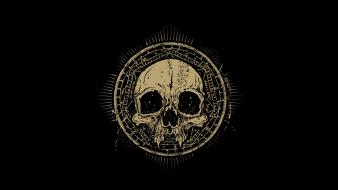 Artwork black background skulls wallpaper
