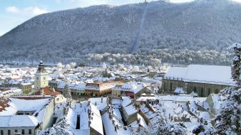 Brasov tatra mountains cities cityscapes winter Wallpaper