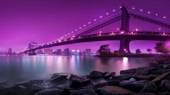 Brooklyn east river manhattan bridge bright wallpaper