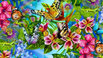 Butterflies and flowers wallpaper