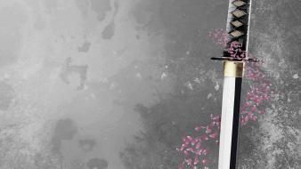 Cherry blossoms katana wallpaper