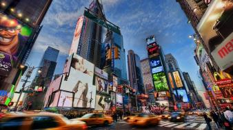 City times square billboard cities motion blur wallpaper