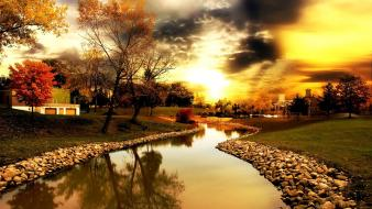 Clouds landscapes nature rivers sunlight wallpaper